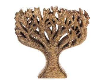 Brown Craved Wooden Tree Ornament Sculpture