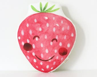 Strawberry Cushion Strawberry Pillow Fruit Cushion Kawaii Strawberry Cushion Fruit Strawberry Plush