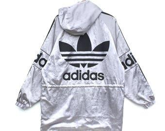 Rare!! Vintage Adidas Trefoil Silver Hoodie Big Logo Extra Large Made In Japan