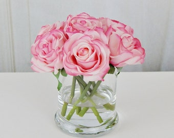 Pink, blush, rose/roses, glass, vase, faux, water, acrylic/illusion, silk, Real Touch flowers, floral arrangement, centerpiece, decor, gift