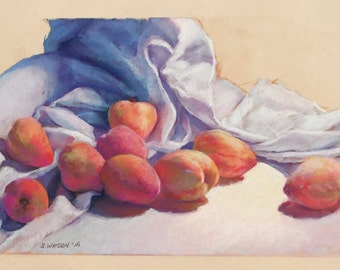 Original Painting Still Life Peaches Drapery ArtEqualsJoy