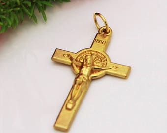 St Benedict Cross, Saint Benedict Crucifix, San Benito Cross for Rosary Making, Patron Saint Charm, Catholic Jewelry Supply, Rosary Parts