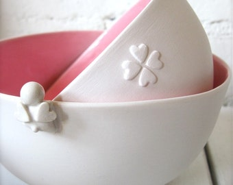 Girly Pink Happy Heart Angel Bowl-Set of 2