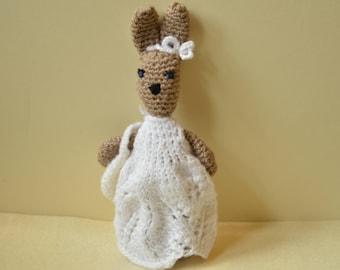 Crochet bunny rabbit, amigurumi doll, rabbit soft toy, rabbit in a dress