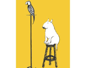 Humorous Bull Terrier with Parrot Poster - Funny Dog Print -Dog Decor -Dog lover gift
