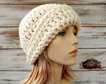 Cream Cloche Hat - Cream Crochet Hat Cream Womens Hat - 1920s Flapper Hat Garbo Cloche Hat Cream Hat Womens Accessories Winter Hat