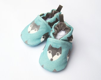 Organic Knits Vegan Fox in Blue / All Fabric Soft Sole Baby Shoes / Babies Wolf