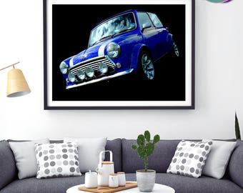 Mini Cooper Sport Pack - Blue Photographic Design - Art Print- Mini Cooper Sport Pack - Classic Mini Car - Austin Mini Cooper