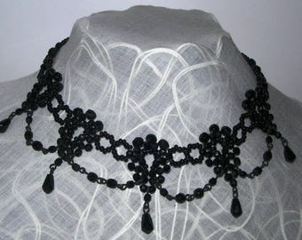 Black bib necklace, lace,hand made, vintage, formal,beads