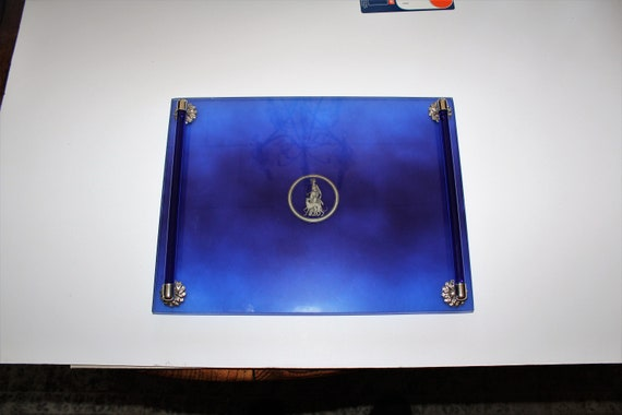 Art Deco Vanity Tray Cobalt Blue Glass and Chrome Vintage Bar Tray
