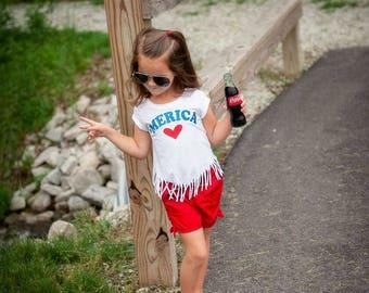 Kids fourth of July shirt, Merica shirt, Toddler 4th of July outfit, Fringe shirt, 4th of July shirt, Fourth of July outfit