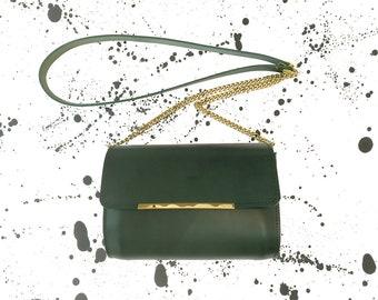 """Naomi"" Mini green leather handbag"