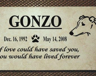 "Greyhound Memorial plaque. Maintenance Free 12""x6""x3/8"" Weathered Italian Porcelain Stone Tile"