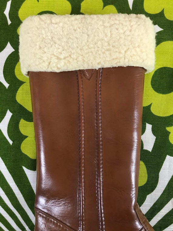 boots Eskiloos rubber boots tall all weather lined winter snow brown rain 1970s waterproof boots fur faux vintage sherpa 9 boots boots HXaYfWwWqx