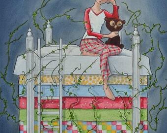 Princess and the Pea, fairy tale, small stuff, girl and teddy bear, sleep, pea, fantasy, sweet pea, Mary Pohlmann
