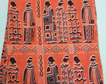 Bright orange print African fabric per yard, Massai people, African Clothing fabric, Cotton Print fabric per yard