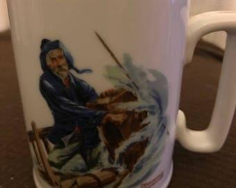 1985 Norman Rockwell Braving the Storm Tankard Mug