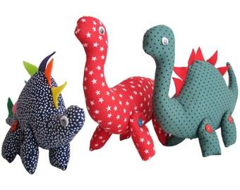 Dinosaurs PDF Pattern, softie dinosaur pattern, dinosaur toy, child's toy pdf