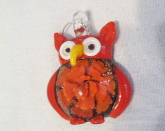 RED Glass Owl Pendant - Red Glass Lampwork Owl 47mm