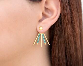 Statement jewelry, turquoise earrings, mother gift, bohemian statement earrings, boho earrings, ear jacket earrings, front back earrings