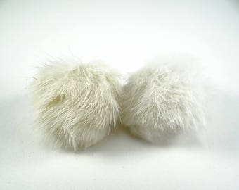 Mink Clip on Earrings, Vintage Mink Earrings, Cream Mink Earrings