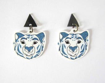 White Tiger earrings