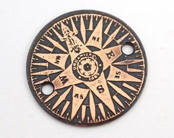 2 hole copper compass bracelet component, link, 25mm