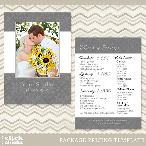 Wedding Photography Packages: Photography Package Pricing List Template Wedding Price List
