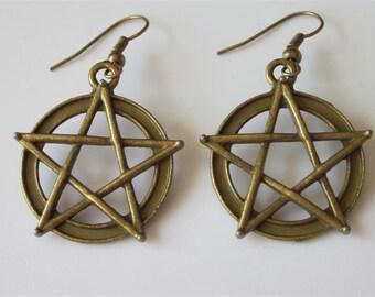 Pentacle Earrings, Dangle Earrings, Vintage Inspired Antiqued Bronze Star, Protection Jewelry, Rustic Dangle