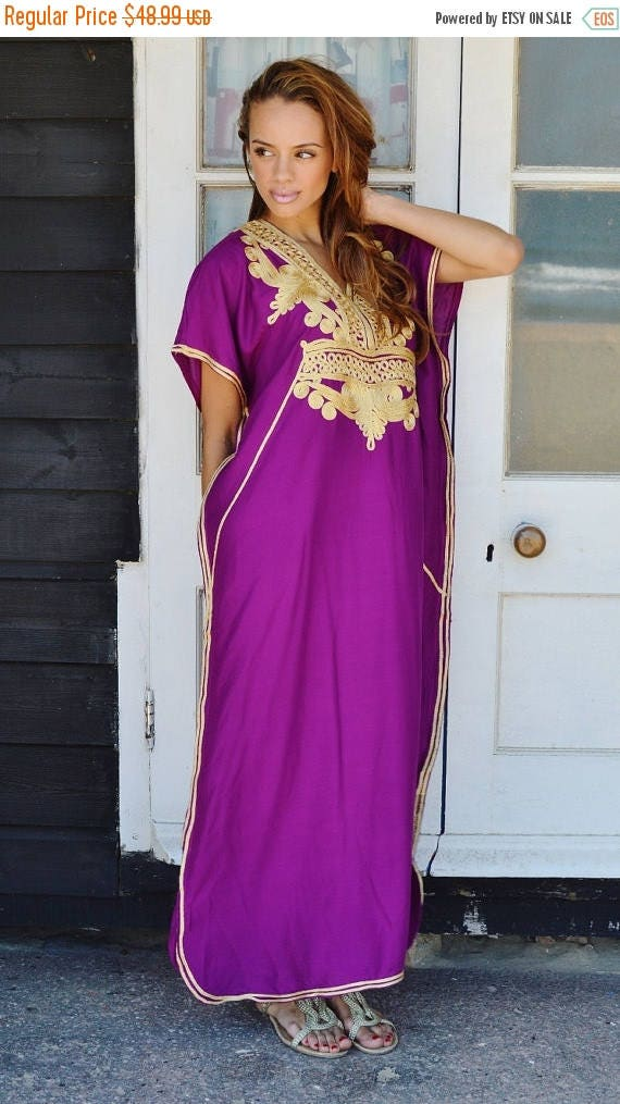 SUMMER 10% OFF // Trendy Clothing | Royal Purple with Gold Marrakech Resort Caftan Kaftan, loungewear, dresses, birthdays, hone