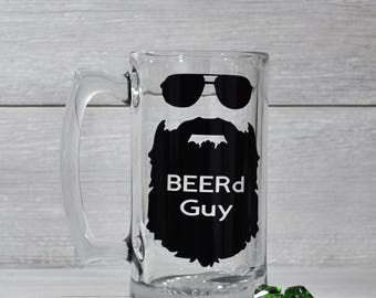 Beer Mug, Funny Beer Mug, Beard Mug, Beard Guy, Beard, Beer Gift, Gifts under 20, Funny Mug, Christmas Beer Mug, Gift