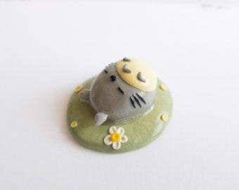 Sleeping Grey Creature Mini Figurine