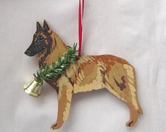 Hand-Painted BELGIAN TERVUREN Wood Christmas Ornament...Artist Original, Christmas Tree Ornament Decoration