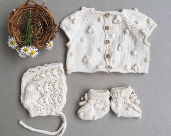 handknit for baby, present for newborn, bonnet fot newborn, knitstile, beautiful outfit,outfit for baby,baby outfit, popcorn knits