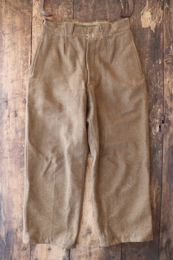"Vintage 1950s 50s khaki green thick wool french army trousers pants 30"" x 29"" repaired darned workwear chore button fly"
