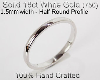 18ct 750 Solid White Gold Ring Wedding Engagement Friendship Half Round Band 1.5mm