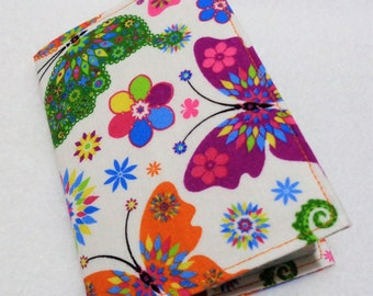 Butterfly Design Passport Cover - Butterflies Passport Holder - Fabric Passport Case - Travel Wallet - Rainbow Butterfly Design