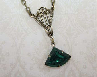 Art Deco Necklace Pendant Fan Necklace Emerald Green Great Gatsby May Birthstone Jewelry Gift