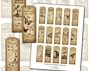 Fantasy Magic Potion Labels II digital collage sheet 15 labels for decoupage witches brew supplies and more