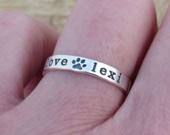 Paw Print Ring, Dog Ring, Paw Print Jewelry, Dog Mom, Sterling Silver Ring, Handmade Ring, Wide Style