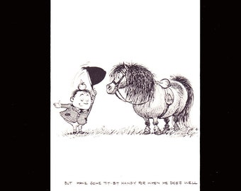 "Norman Thelwell's delightful humorous 1962 mounted comic cartoon pony print titled ""But have some tit-bit handy for when he does well"""