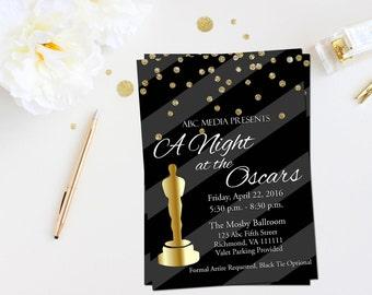 Oscar party invitation- Academy awards invitation- Oscar viewing party invites- Oscar invitation- Oscar invites