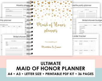 graphic relating to Maid of Honor Printable Planner known as bridal shower organizer -