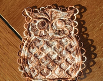 Embroidered Magnet - Owl All Thread - Multi Browns