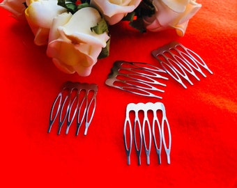 Hair comb for craft. Silver metal hair comb. 10 or 25 pcs. Veil attachment. Hair Accessories. Bridal Supplies