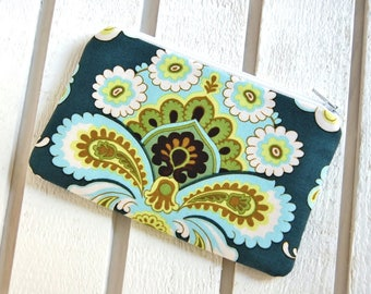 Coin Purse, Change Pouch, Small Zipper Pouch, Women and Teens, Amy Butler, French Wallpaper in Spruce