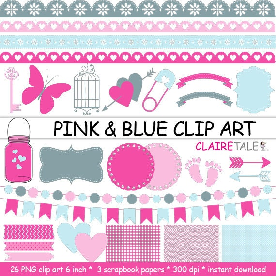 "Digital ""PINK & BLUE CLIPART"" frames, ribbons, borders, flags, arrows, butterfly, lights, hearts, mason jar, key, bird cage, baby shower"