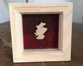 Harris Tweed Box Frame with Scotland Map, Highland Cow, Stag Head