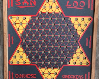 Vintage Retro Chinese Checker Board Rare Made In The USA