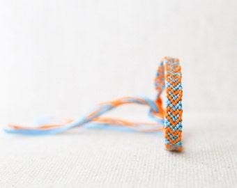 Hearts Friendship Bracelet Turquoise and Orange Woven Bracelet